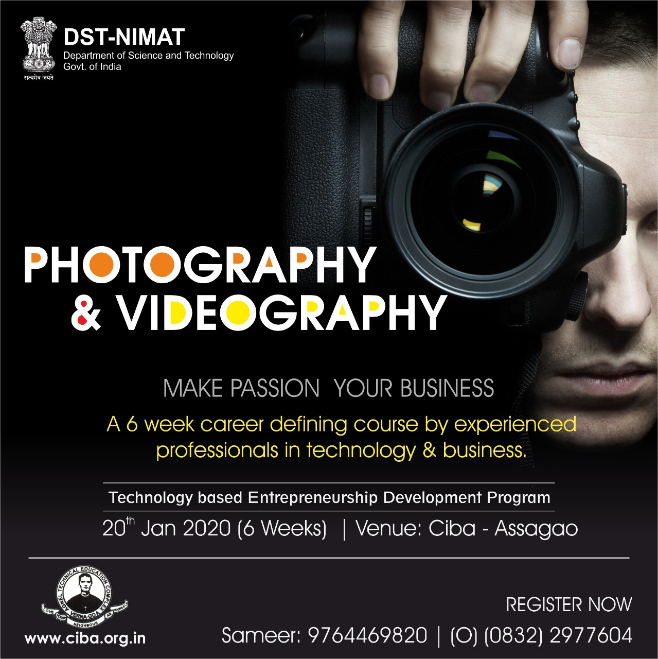 ciba-Technology-Based Entrepreneurship Development Programme in Photography & Videography