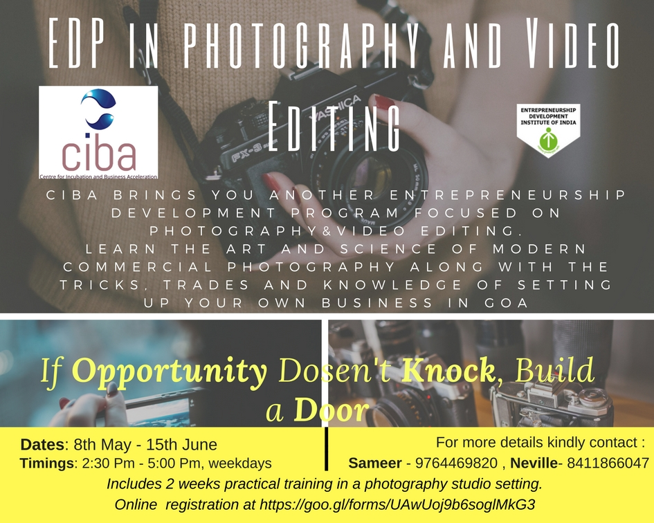ciba-Technology based Entrepreneurship Development Programme (TEDP) in Photography & Video Editing