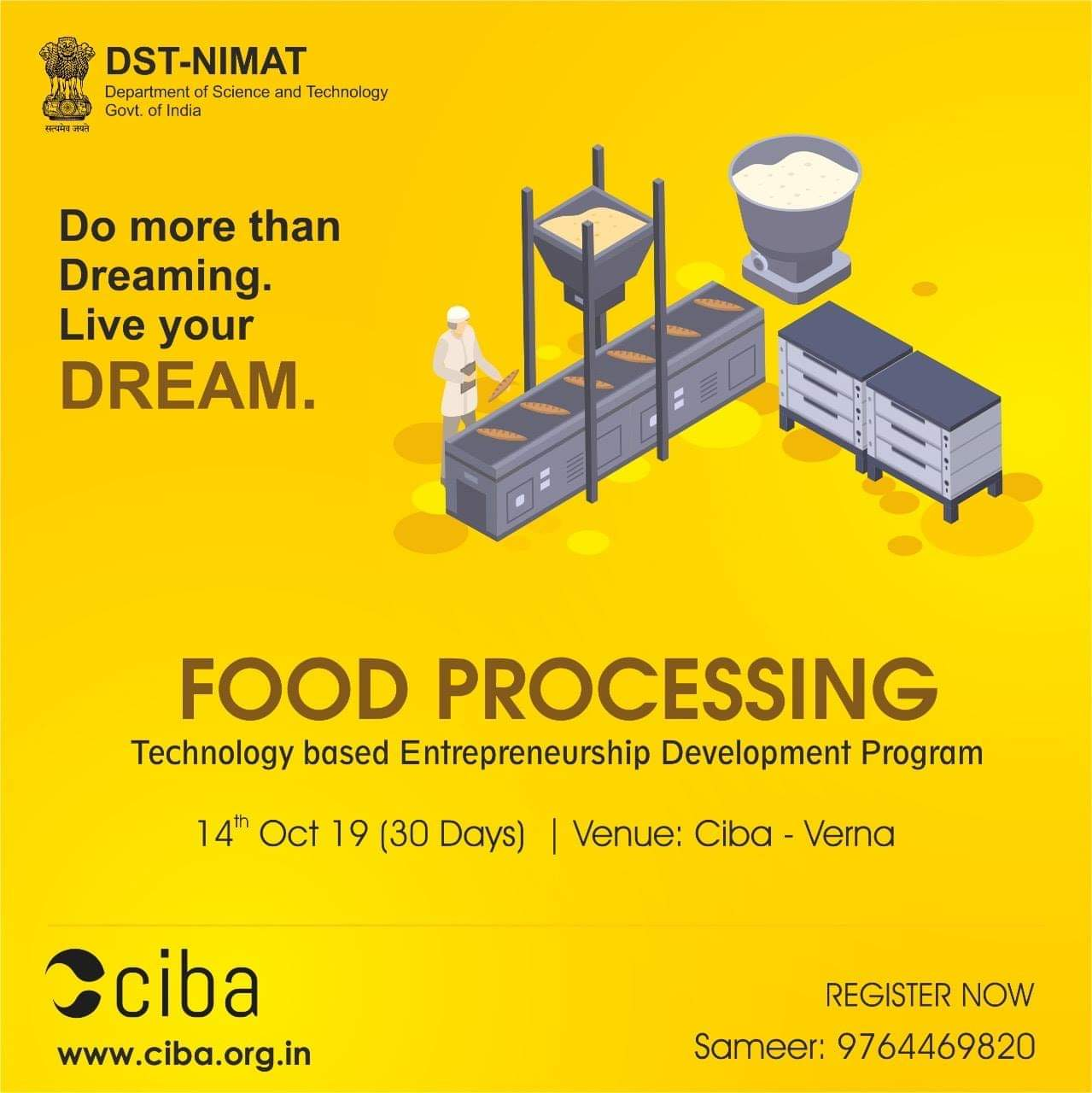 ciba-Technology-Based Entrepreneurship Development Programme in Food Processing