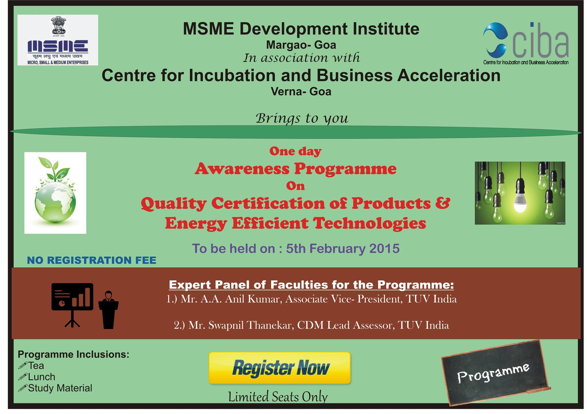"ciba-Awareness programme on Quality Certification of Products"" & ""Energy Efficient Technologies"