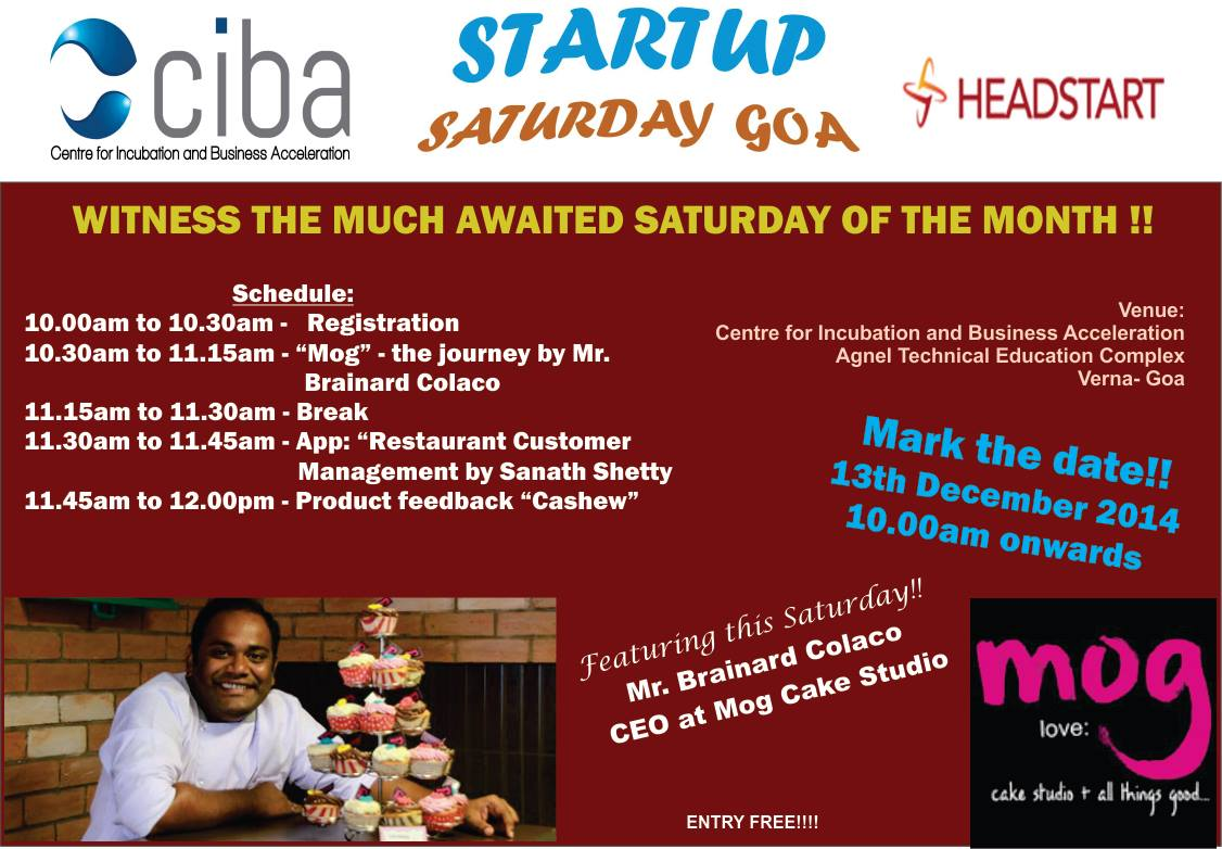 ciba-Headstart Startup Saturday December edition